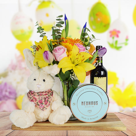 Easter Bouquet & Wine Basket