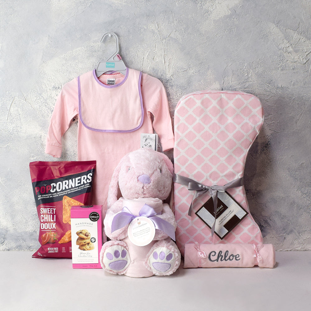 BABY GIRL'S FIRST GIFTS BASKET, baby girl gift basket, welcome home baby gifts, new parent gifts