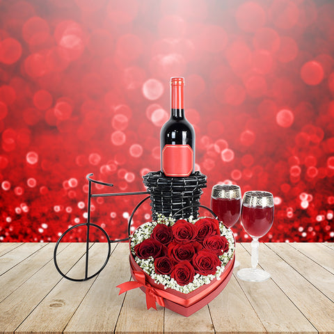 Romantic Bike Ride Valentine's Day Basket, wine gift baskets, floral gift baskets, Valentine's Day gifts, gift baskets, romance