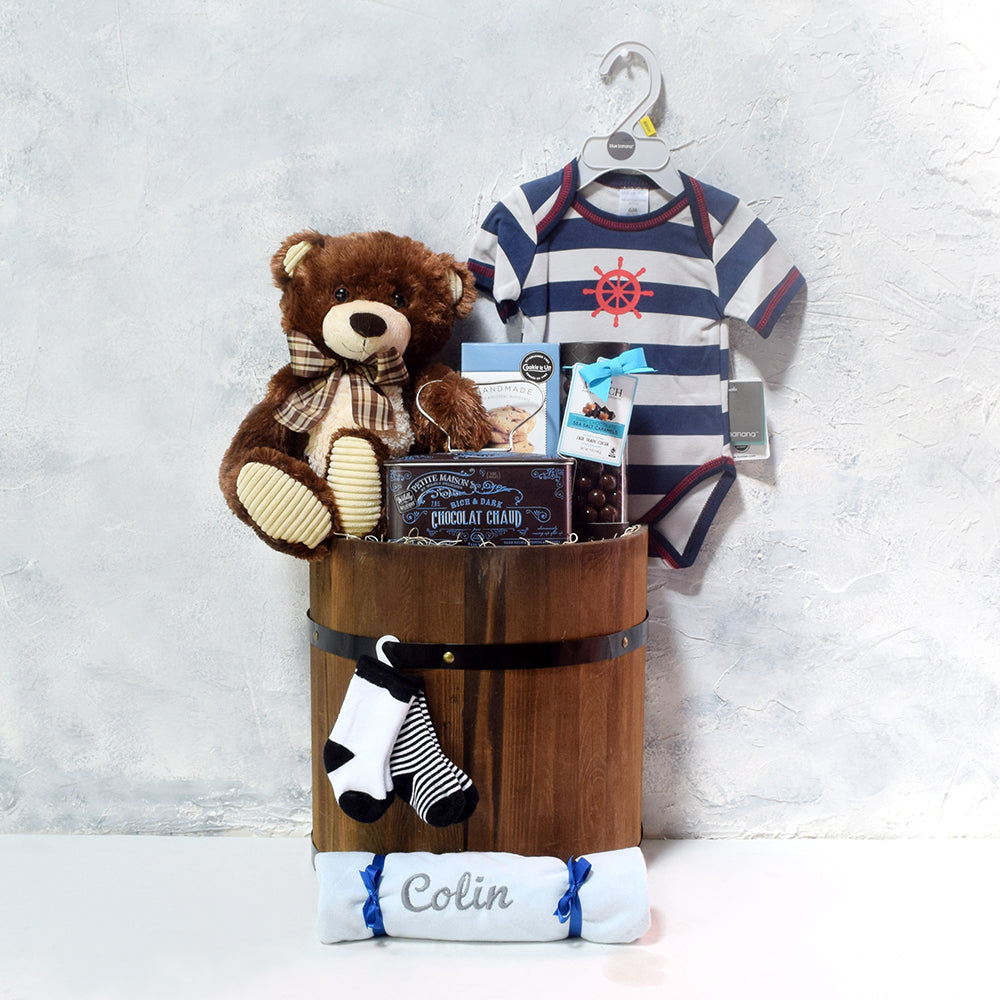 BEAR & THE CAPTAIN BABY GIFT BASKET, baby boy gift basket, welcome home baby gifts, new parent gifts