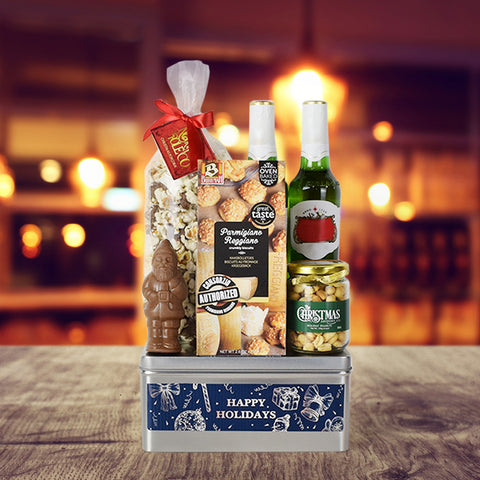 Happy Holidays Beer & Snacks Basket, Christmas gift baskets, beer gift baskets