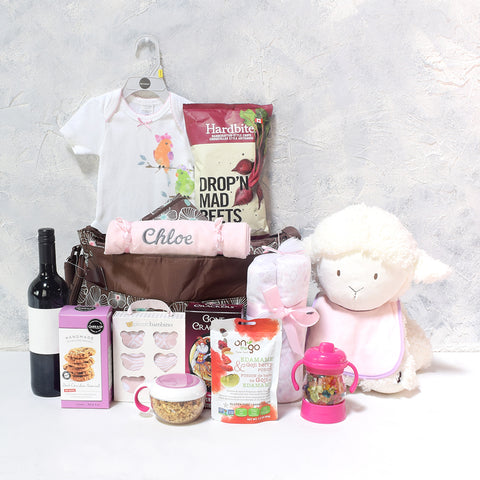 AN ANGEL BABY GIRL GIFT SET WITH WINE, baby girl gift basket, welcome home baby gifts, new parent gifts