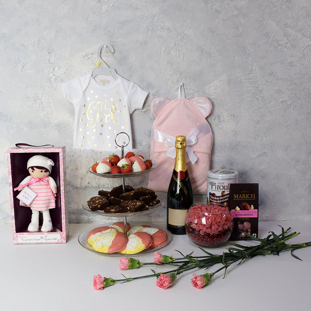 Blessed Baby Girl Champagne Gift Set
