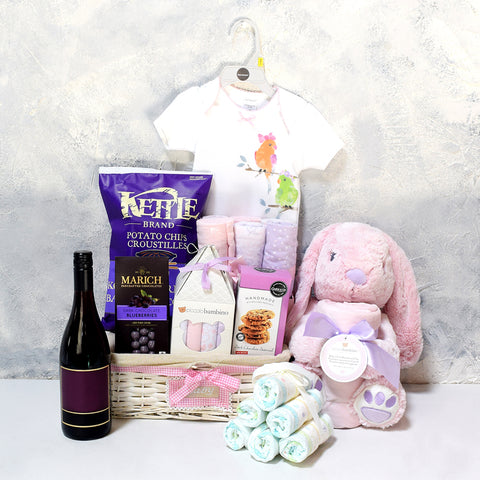 CHEERS TO THE MUM & DAD GIFT BASKET, baby girl gift basket, welcome home baby gifts, new parent gifts