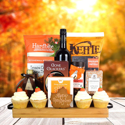 Thanksgiving Wine & Snacks Bounty,  Thanksgiving gift baskets, wine gift baskets