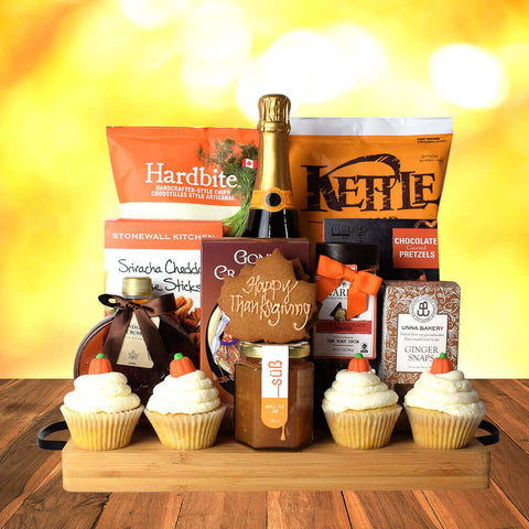 Thanksgiving Bubbly & Snacks Bounty,  Thanksgiving gift baskets, champagne gift baskets