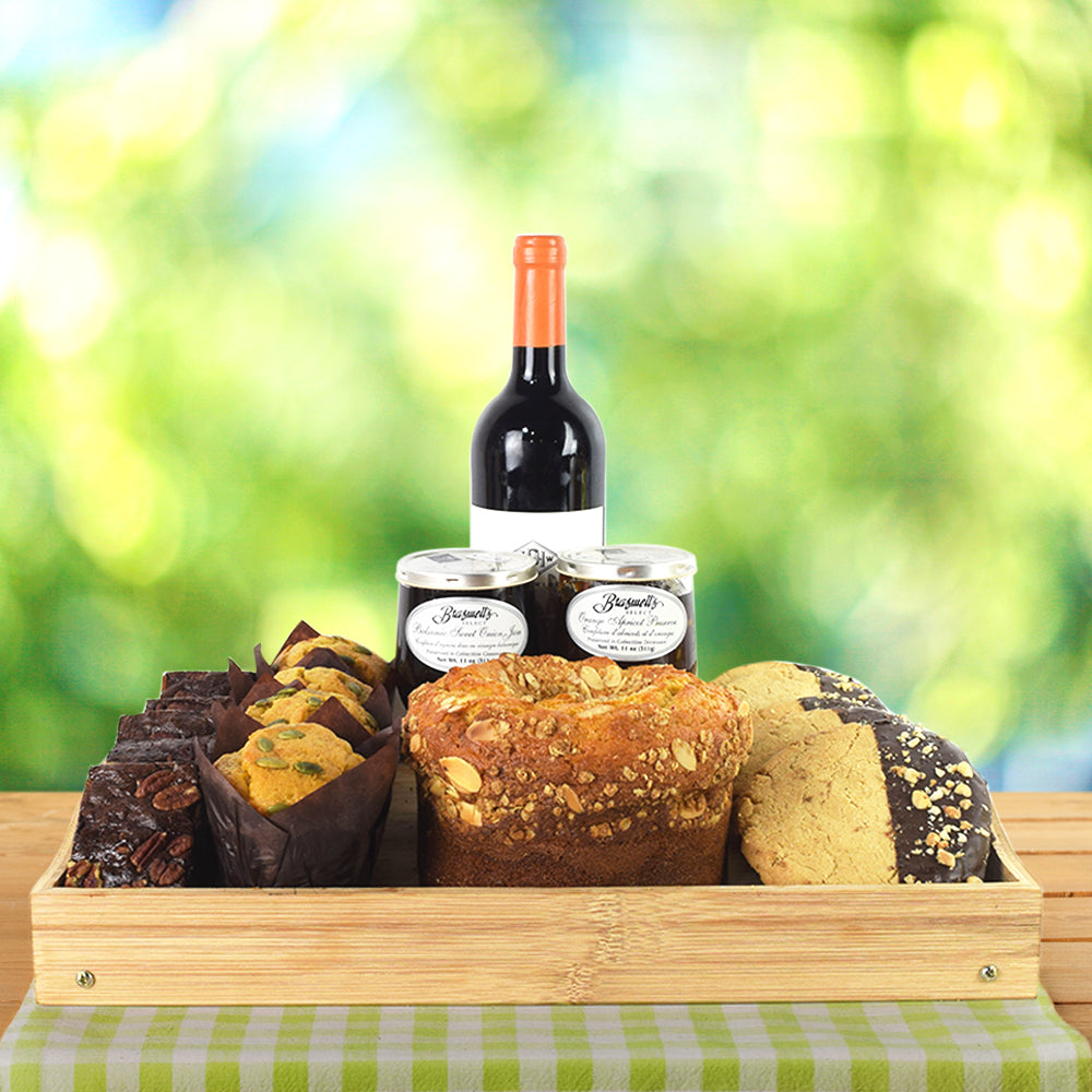 Wine & Baked Treats Gift Basket, wine gift baskets, gourmet gift basket