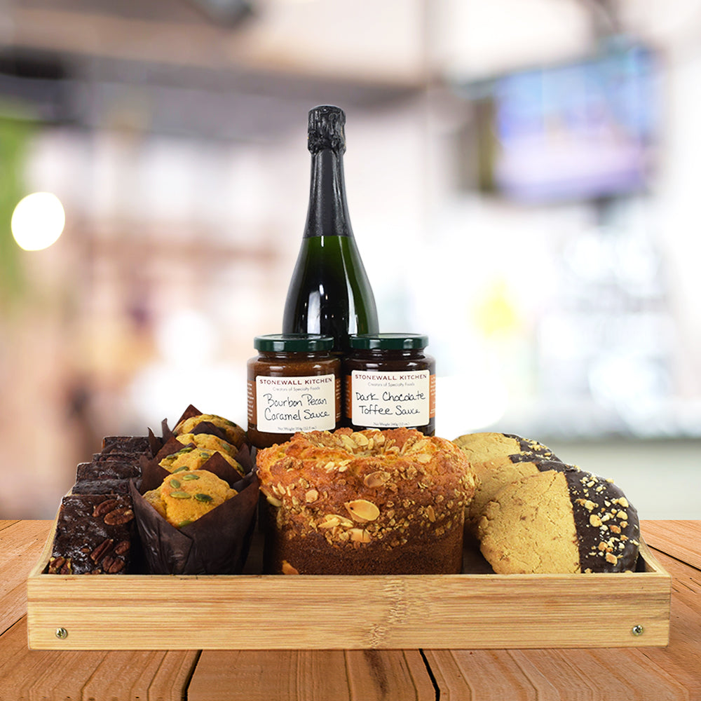 Baked Treats & Bubbly Gift Basket, champagne gift baskets, gourmet gift basket