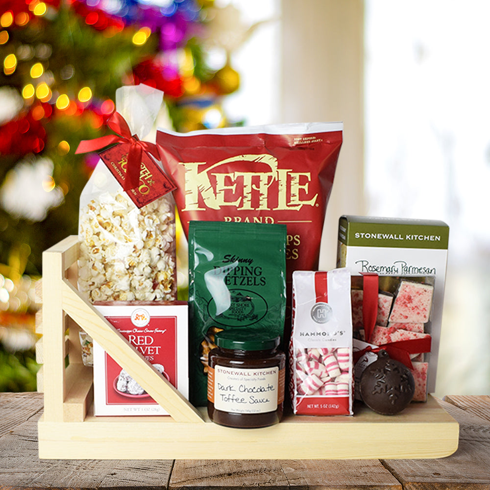 Holiday Snacking Basket, gourmet gift baskets, Christmas gift baskets