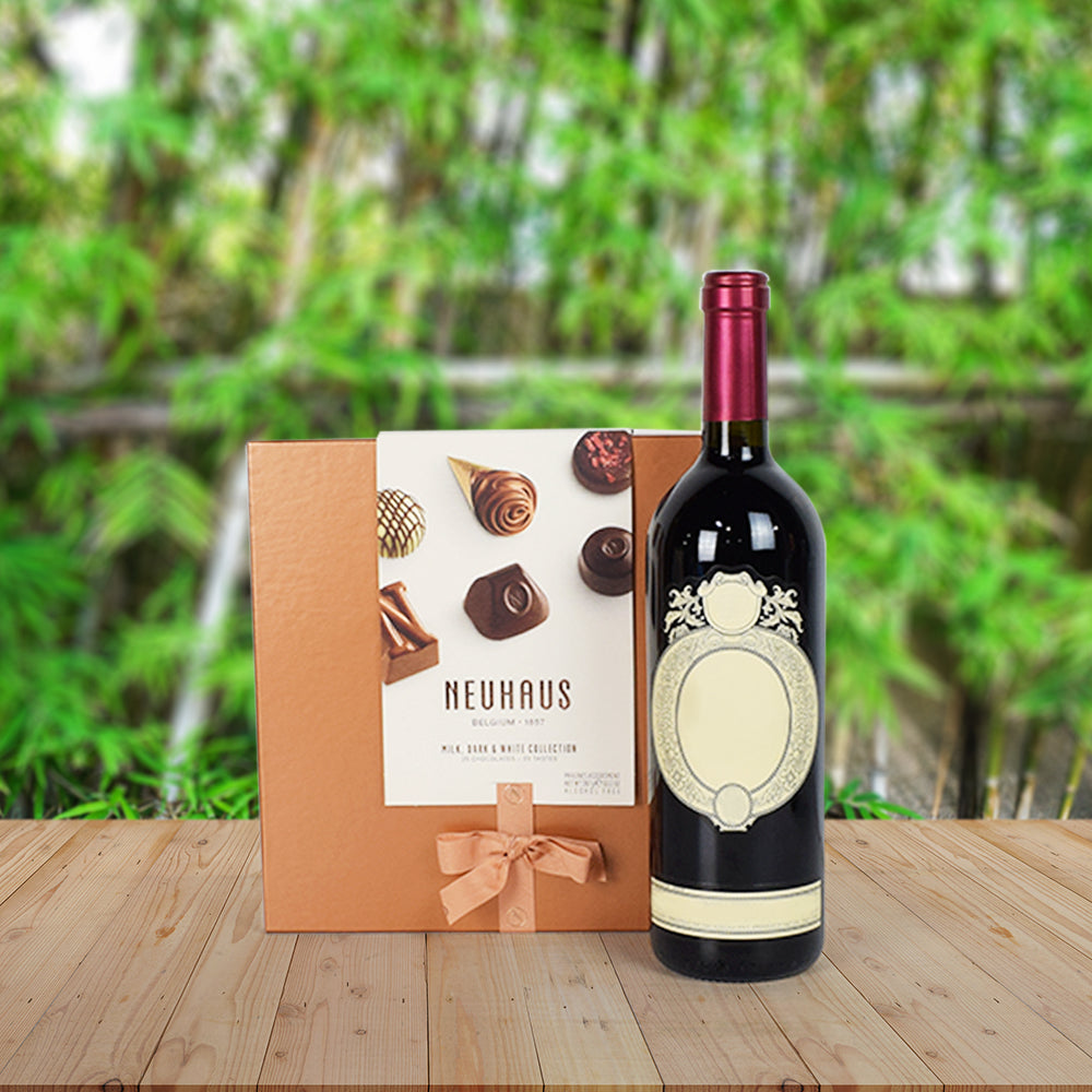 Wine & Chocolates – Magnifique!, wine gift baskets, Christmas gift baskets