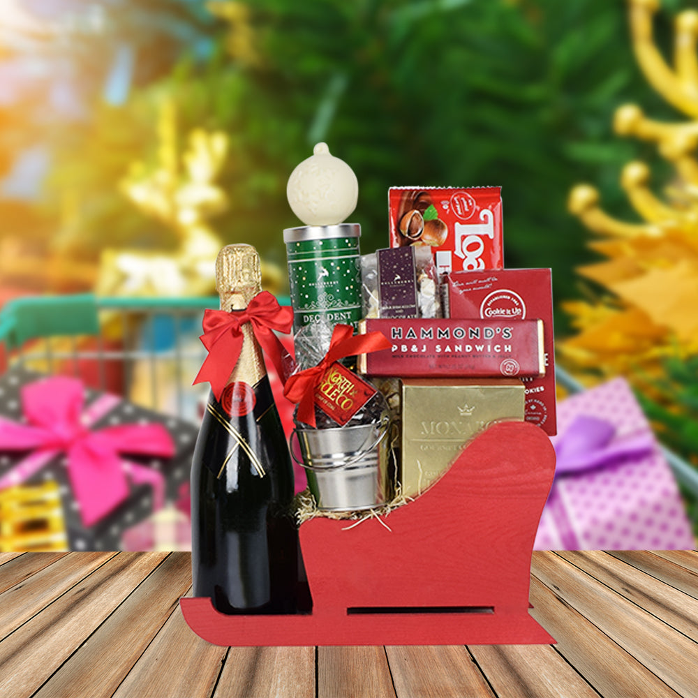 Santa's Sleigh of Treats with Champagne, champagne gift baskets, Christmas gift baskets