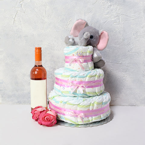 Plush Elephant Baby Gift Basket with Wine