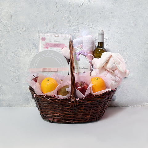 Sweetheart Bunny Baby Gift Basket with Wine