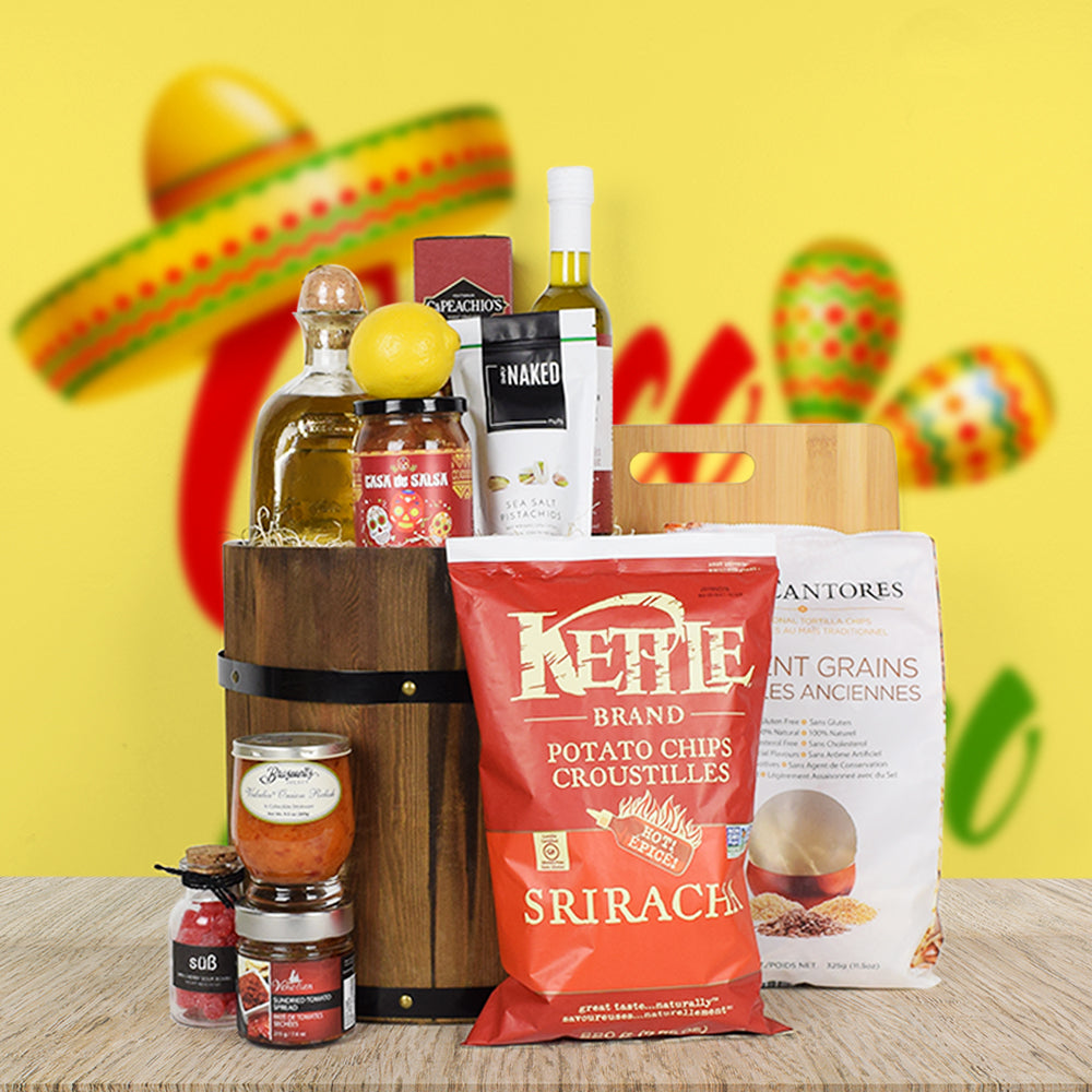 Spicy Spirits Gift Basket, gift baskets, liquor gift baskets, gourmet gift baskets, Cinco De Mayo gift baskets