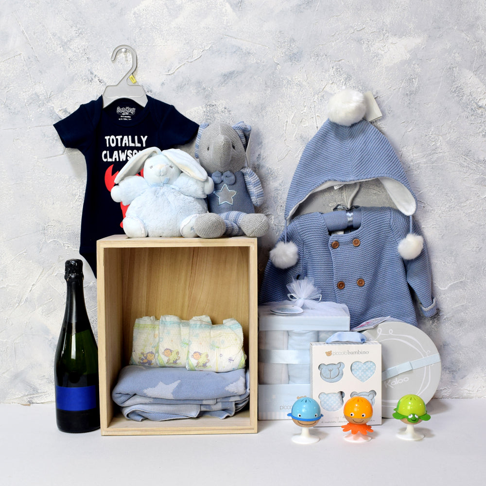 BABY BLUE CELEBRATION GIFT SET WITH CHAMPAGNE, baby boy gift hamper, newborns, new parents