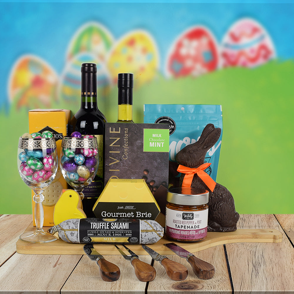 Easter Bunny Gourmet Gift Basket, Easter gift baskets, wine gift baskets, gourmet gift baskets, gift baskets, holiday gift baskets