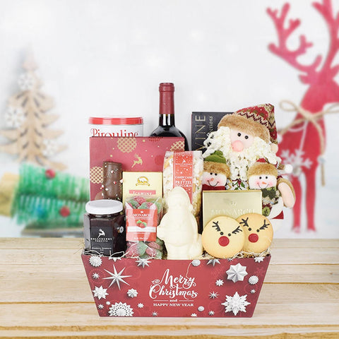 Up on the Housetop Wine Gift Set, wine gift baskets, gourmet gifts, gifts