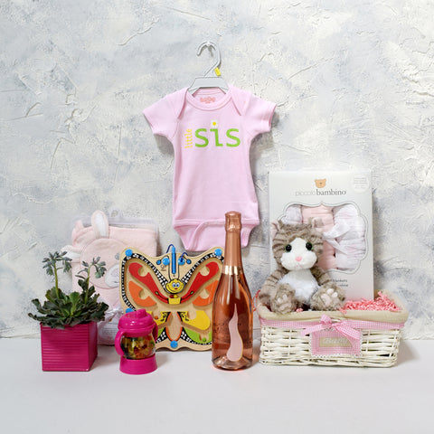 LI'L SIS GIFT SET WITH CHAMPAGNE, baby girl gift hamper, newborns, new parents
