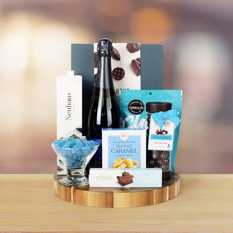 BUBBLY WINE & NAUGHTY CHOCOLATES GIFT BASKET