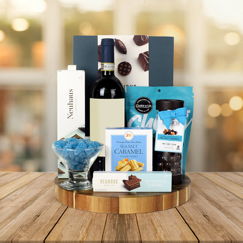PAIR CHOCOLATES WITH WINE GIFT BASKET