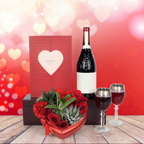 Elegant Valentine's Day Wine Basket