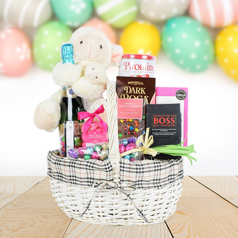 Easter Goodies Basket, Easter gift baskets, champagne gift baskets, gourmet gift baskets, gift baskets, holiday gift baskets