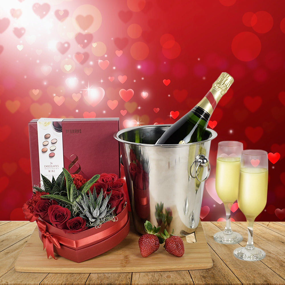 Champagne & Roses Valentine's Day Basket, floral gift baskets, gift baskets, Valentine's Day gift baskets