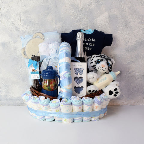 Bubbly Baby Gift Set with Champagne, baby gift baskets, champagne gift baskets