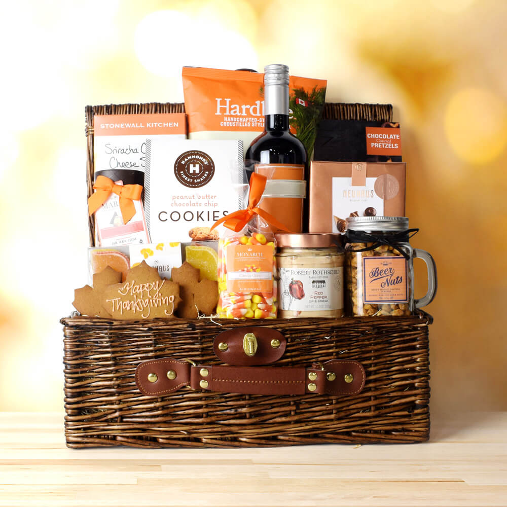 Thanksgiving Wine & Treats Basket, Thanksgiving gift baskets, Thanksgiving gift sets, Canada delivery, USA delivery