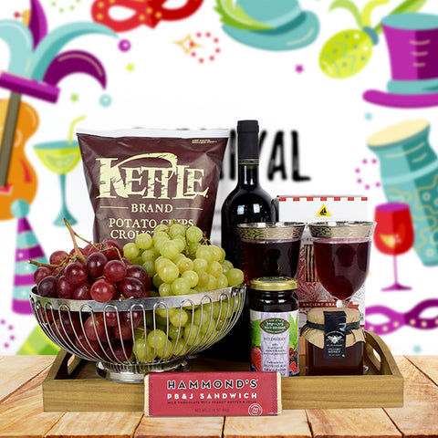 Purim Fruit & Wine Basket, wine gift baskets, kosher gift baskets, gourmet gift baskets, gift baskets, Jewish holiday gift baskets, Purim gift baskets, Shabbat gift baskets, Passover gift baskets