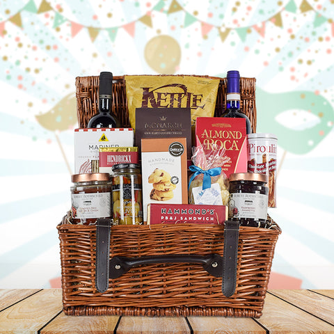 Festive Purim Wine Gift Basket, wine gift baskets, kosher gift baskets, gourmet gift baskets, gift baskets, Jewish holiday gift baskets, Purim gift baskets, Shabbat gift baskets, Passover gift baskets