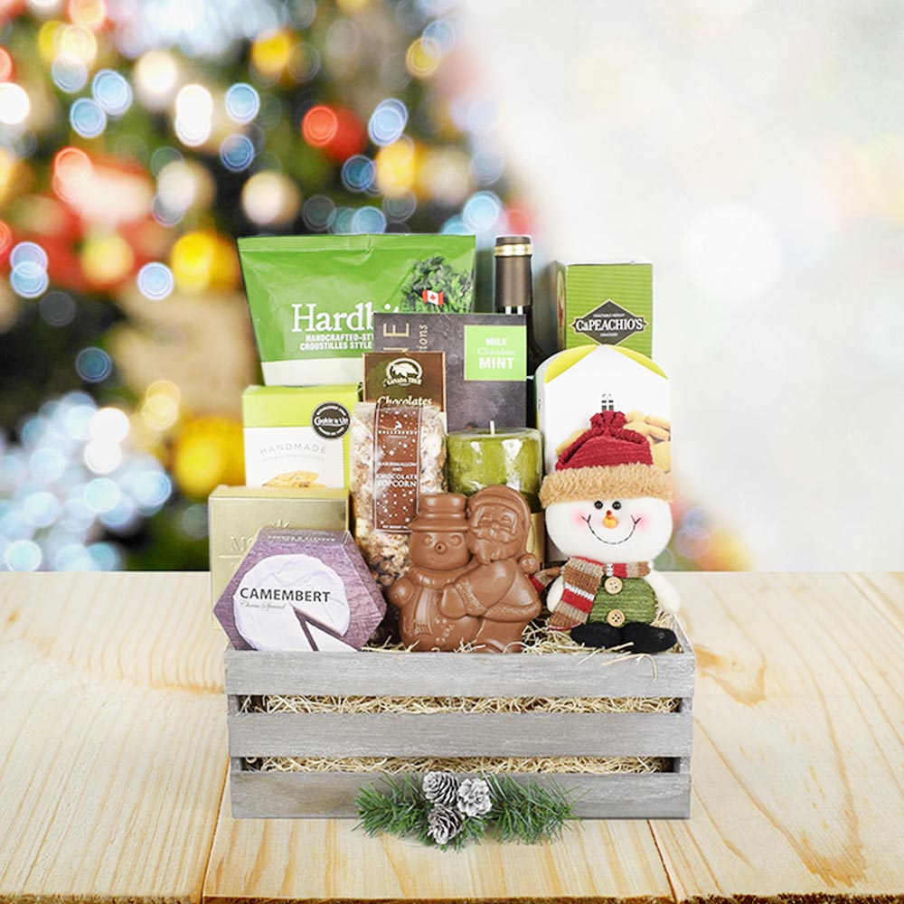 Christmas Crate of Goodies, wine gift baskets, Christmas gift baskets, gourmet gift baskets