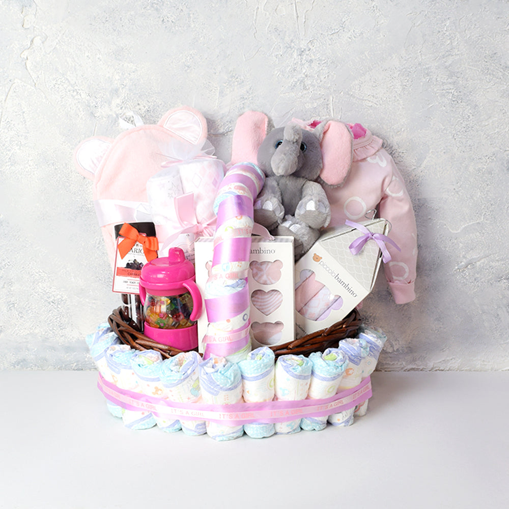 Pretty in Pink Baby Girl Gift Set, baby gift baskets, baby gifts, gift baskets