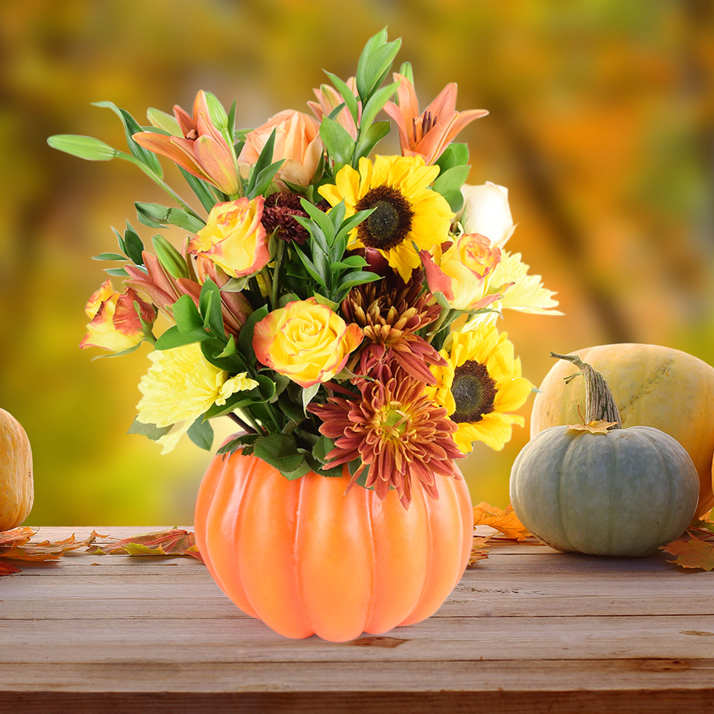 Colors of Fall Bouquet, floral gift baskets, Halloween flower baskets, Thanksgiving flower baskets