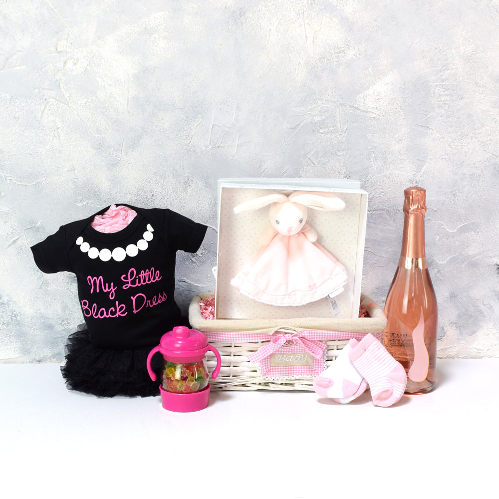 BABY GIRL'S LI'L BLACK DRESS SET WITH CHAMPAGNE, baby girl gift hamper, newborns, new parents