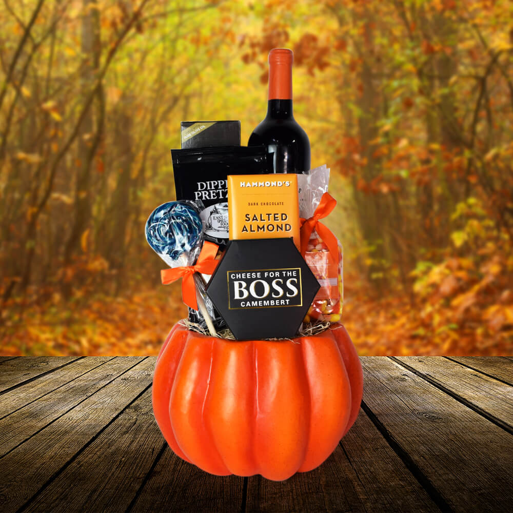 Plump Pumpkin Thanksgiving Gift Basket, wine gift baskets, Thanksgiving gift baskets