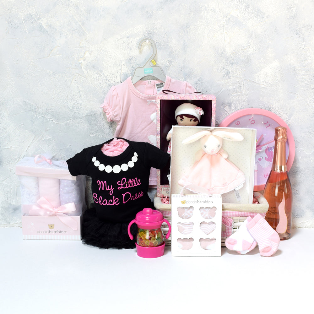 BABY GIRL'S BEDROOM & PLAYSET WITH CHAMPAGNE, baby girl gift hamper, newborns, new parents