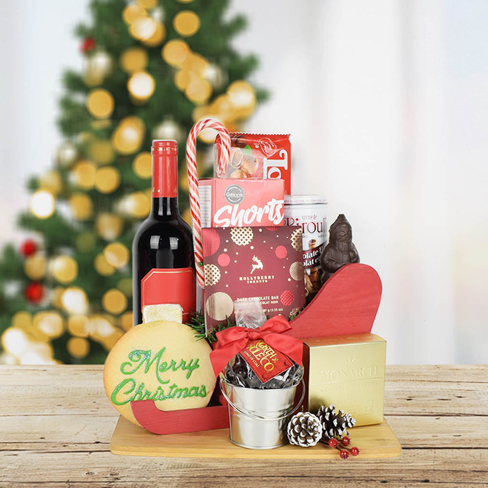 Santa's Sleigh of Treats & Wine, wine gift baskets, Christmas gift baskets, gourmet gift baskets