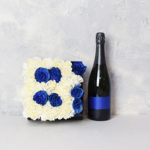 """It's A Boy!"" Champagne & Flower Box Basket, champagne gift baskets, baby gift baskets"