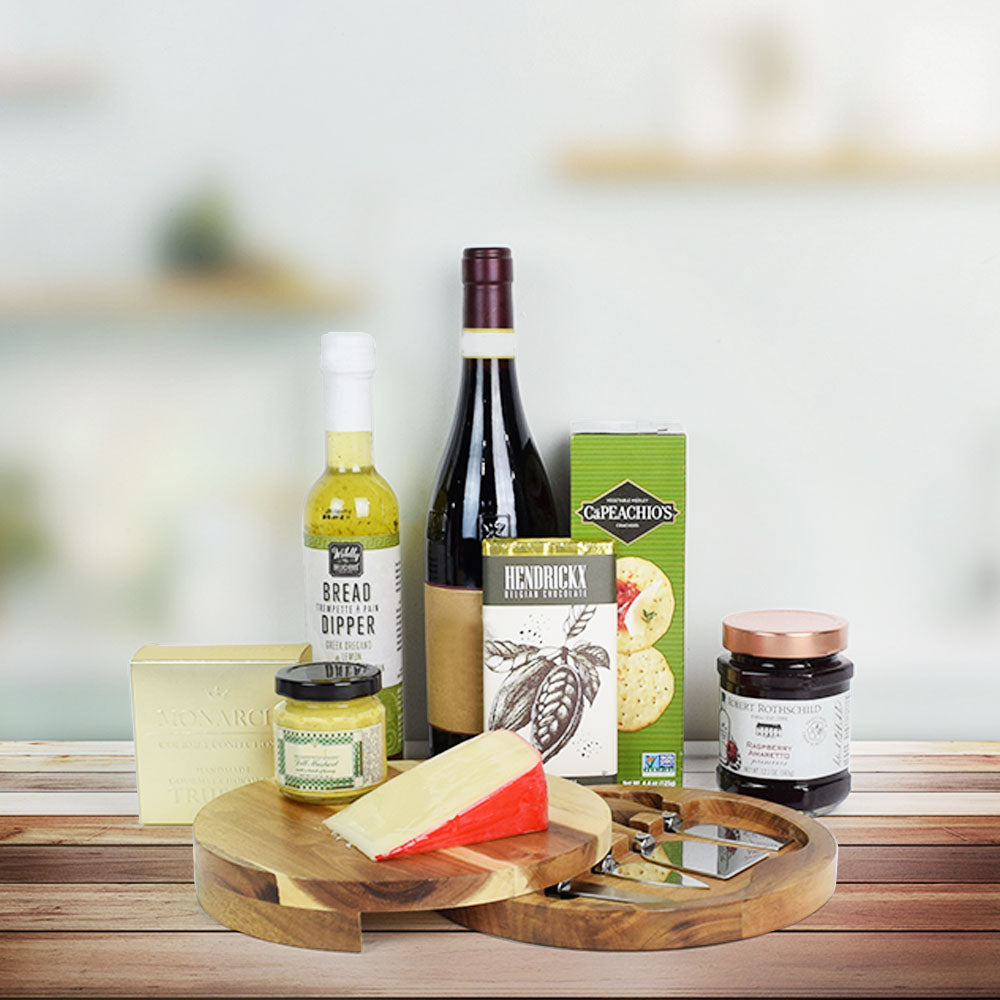 Cheese Board & Chocolate Gift Set, wine gift baskets, gourmet gift baskets, gift baskets, gourmet gifts