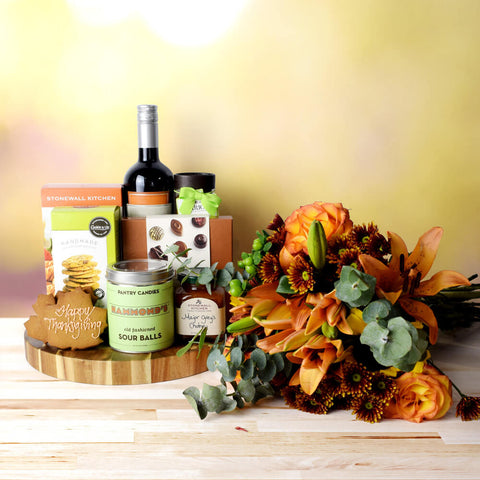 Thanksgiving Wine & Treats Gift Basket, Thanksgiving gift baskets, Thanksgiving gift sets, Canada delivery, USA delivery