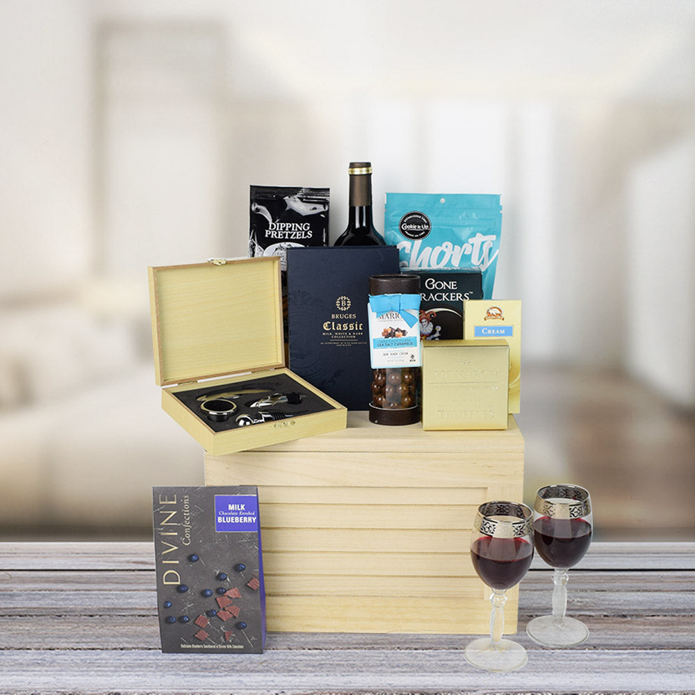Chocolate & Wine Treat Gift Crate, wine gift baskets, gourmet gifts, gifts