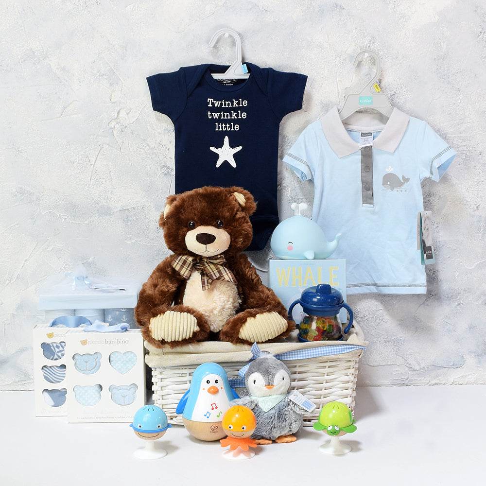Deluxe Baby Boy Fun & Comfort Basket, baby gift baskets, baby boy, baby gift, new parent, baby toys