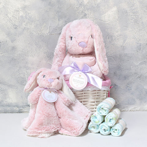 Baby Girl Bunny Basket, baby gift baskets, baby boy, baby gift, new parent, baby