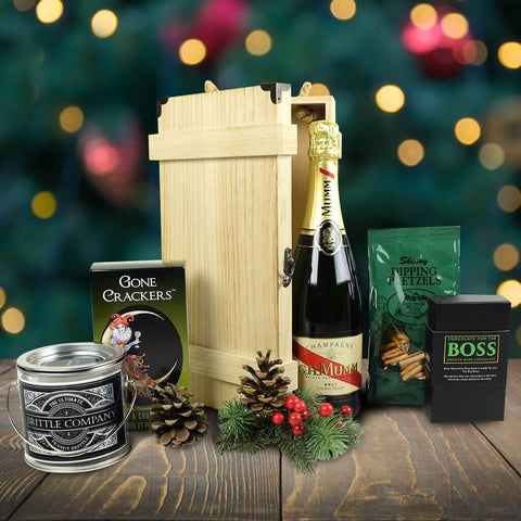 Evergreen Christmas Gift Basket With Champagne