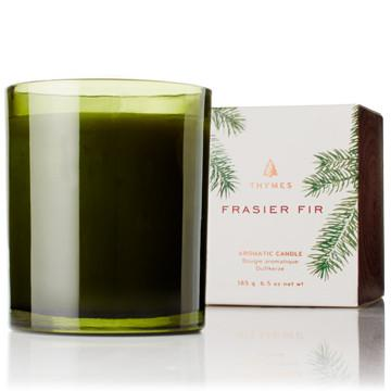 Thymes Frasier Fir -GREEN GLASS CANDLE - 185g