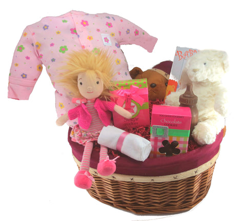The Pink Baby Girl Gift Basket