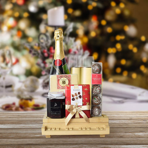 Holiday Champagne & Chocolate Celebration, Christmas Gift Basket