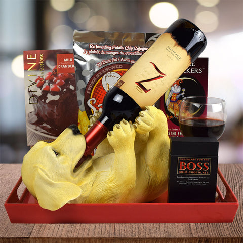 """I Woof to Drink!"" Wine Gift Basket"