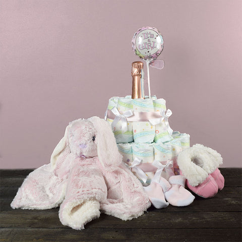 It's A Girl! Champagne & Diaper Cake Gift